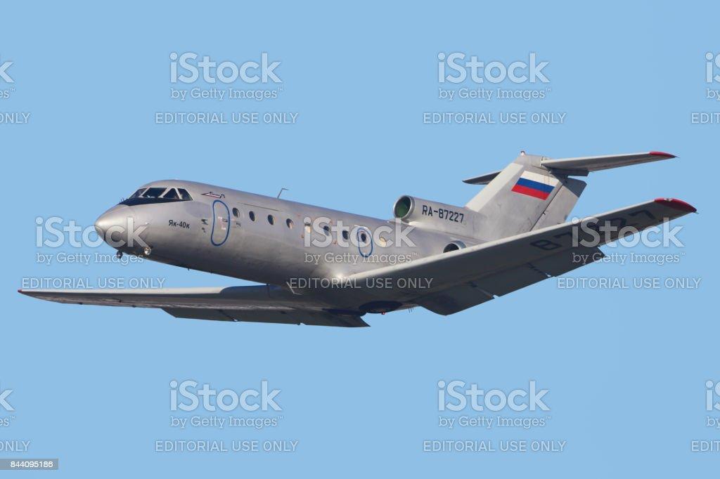 Yakovlev Yak-40K RA-87227 of Barkol Airlines taking off at Vnukovo international airport. stock photo