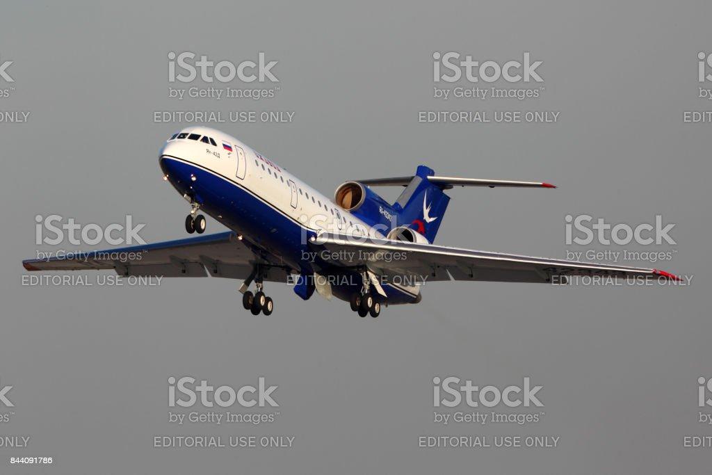 Yakovlev Yak-42 RA-42343 of Izhavia taking off at Domodedovo international airport. stock photo
