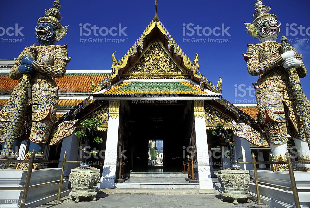 yaksha temple demon wat phra kaeo bangkok thailand stock photo