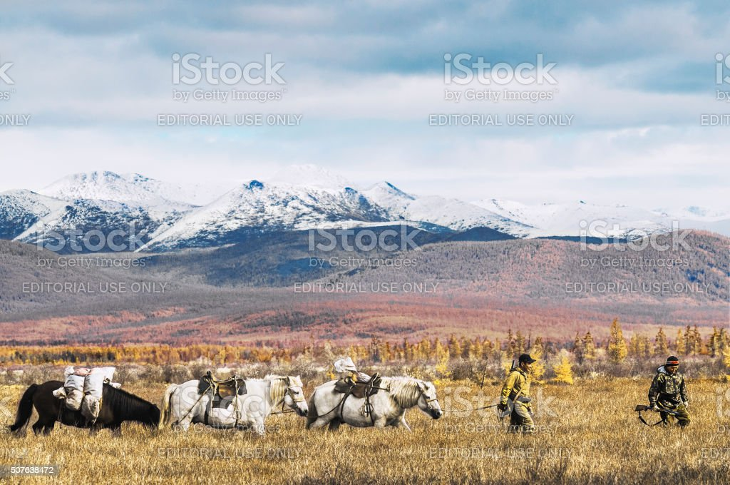 Yakuts - the indigenous people of the North on  hunt. stock photo