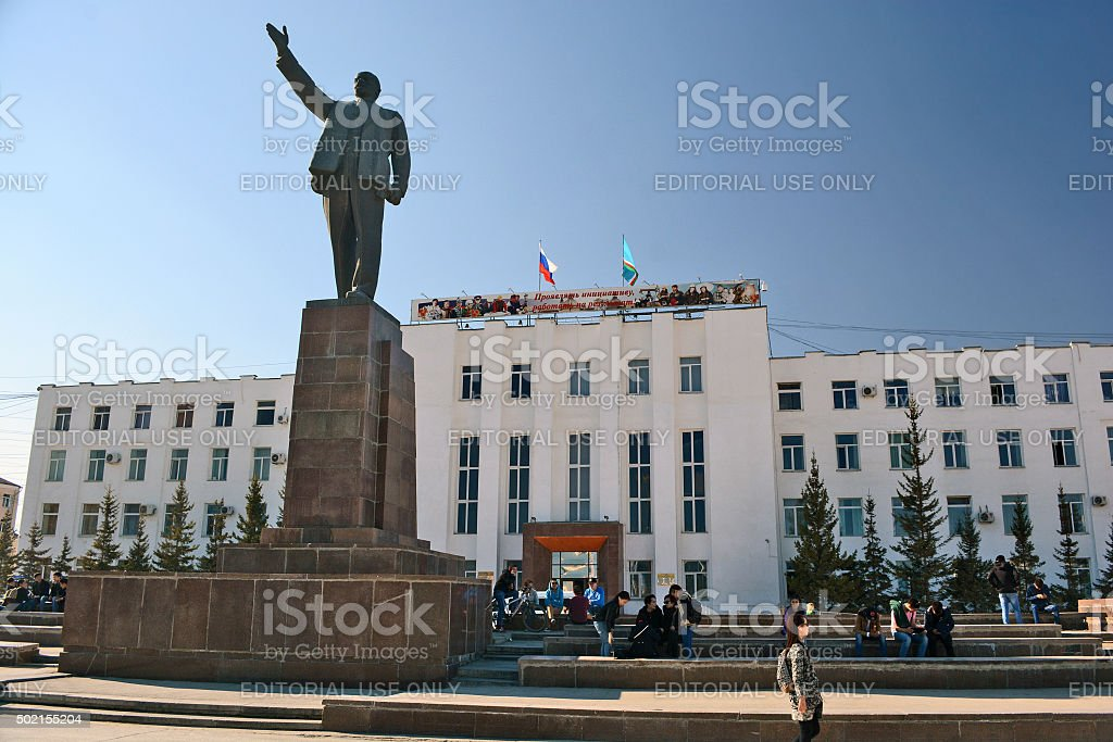 Yakutsk administration building and a monument to Lenin stock photo