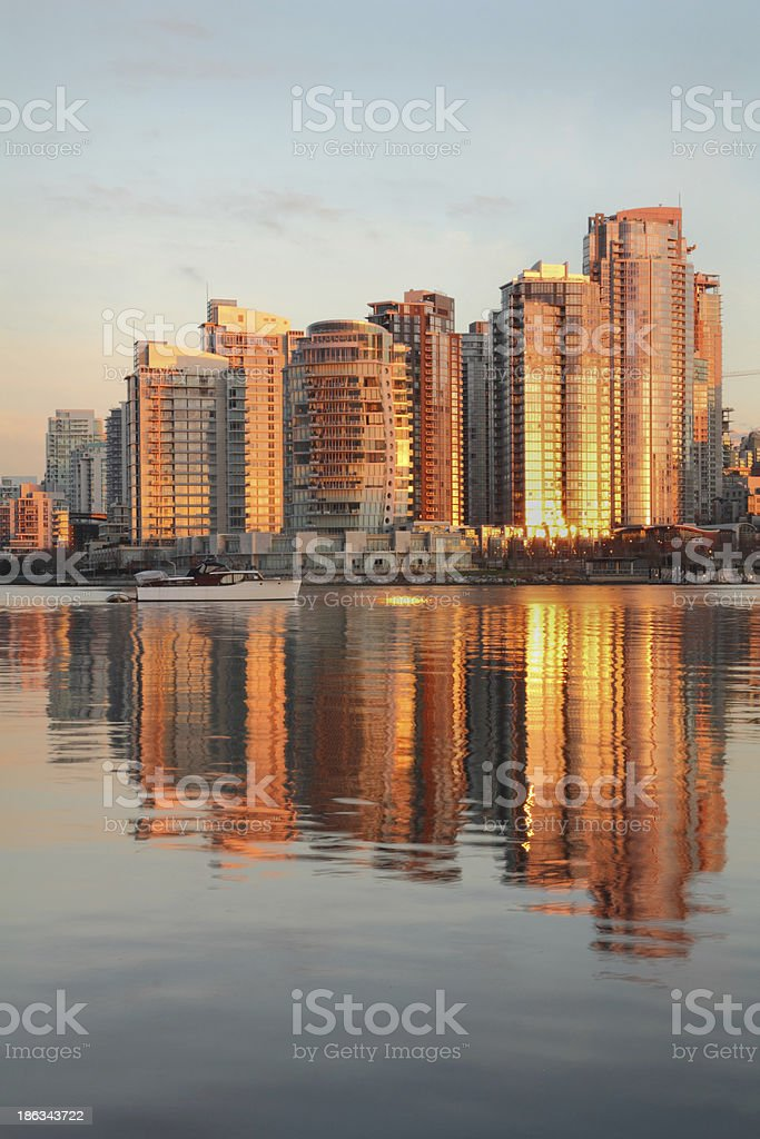 Yaletown Towers Sunrise, Vancouver vertical royalty-free stock photo