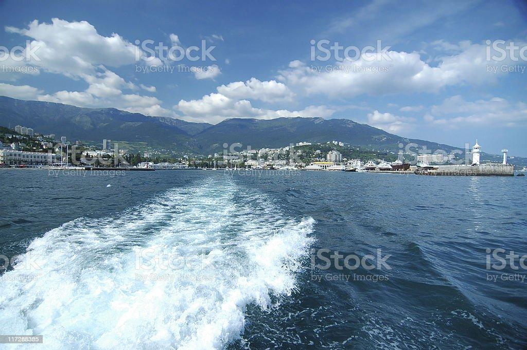 Yalta Harbor on the Black Sea-Crimea stock photo