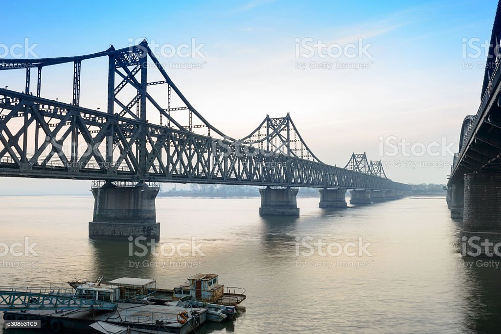 Yalu River Bridge at morning stock photo