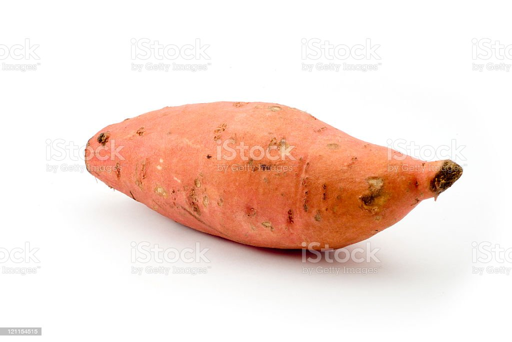 A yam alone on a white background royalty-free stock photo