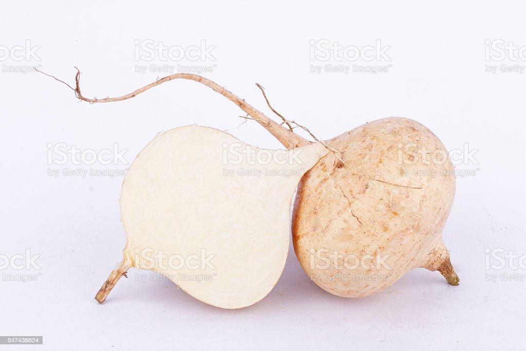 Yam bean ( Jicama ) is bulbous root vegetable fruit stock photo