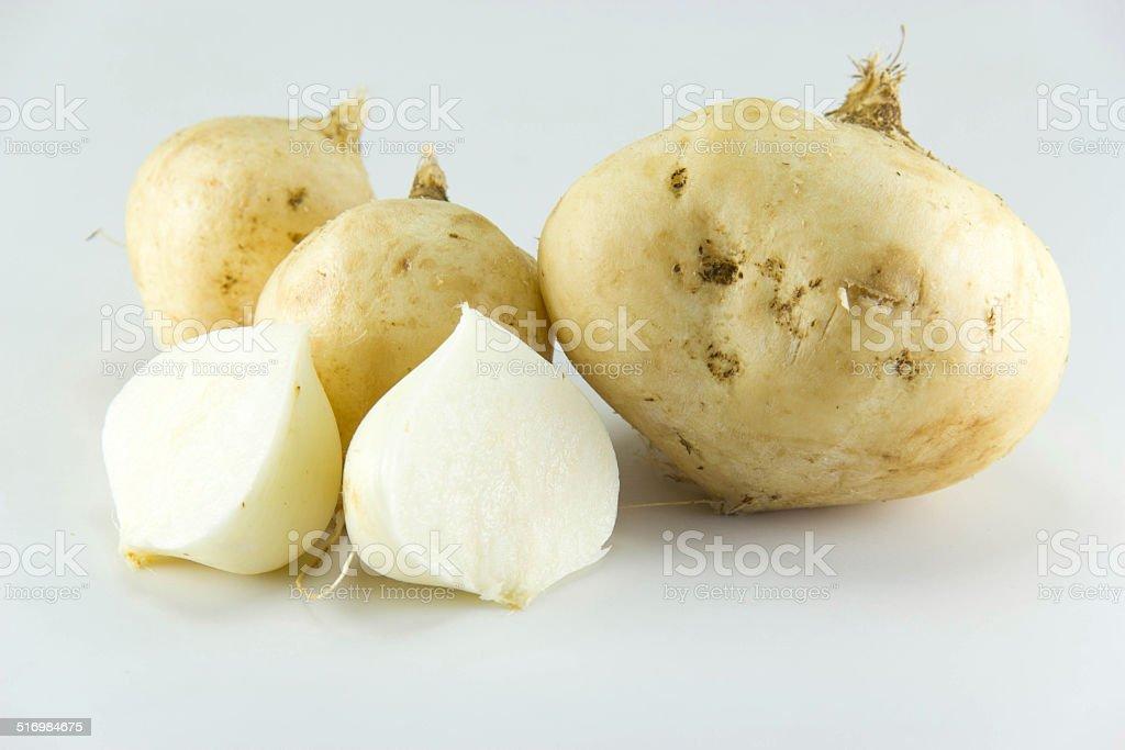 Yam Bean on white background stock photo