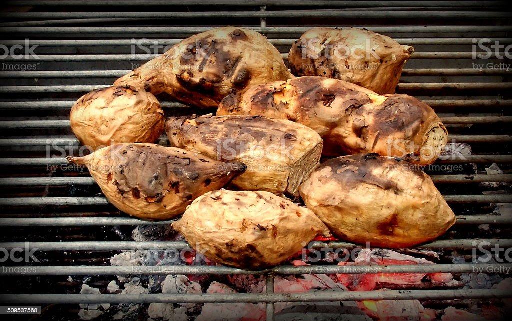 Yam burning  many for food stock photo