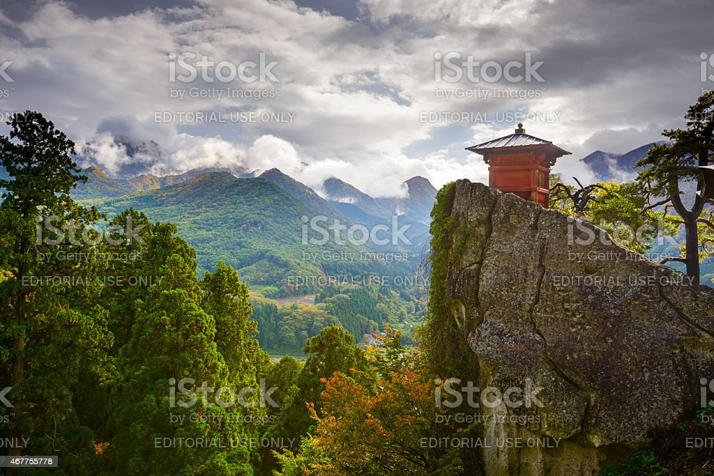 Yamadera Mountain Temple stock photo
