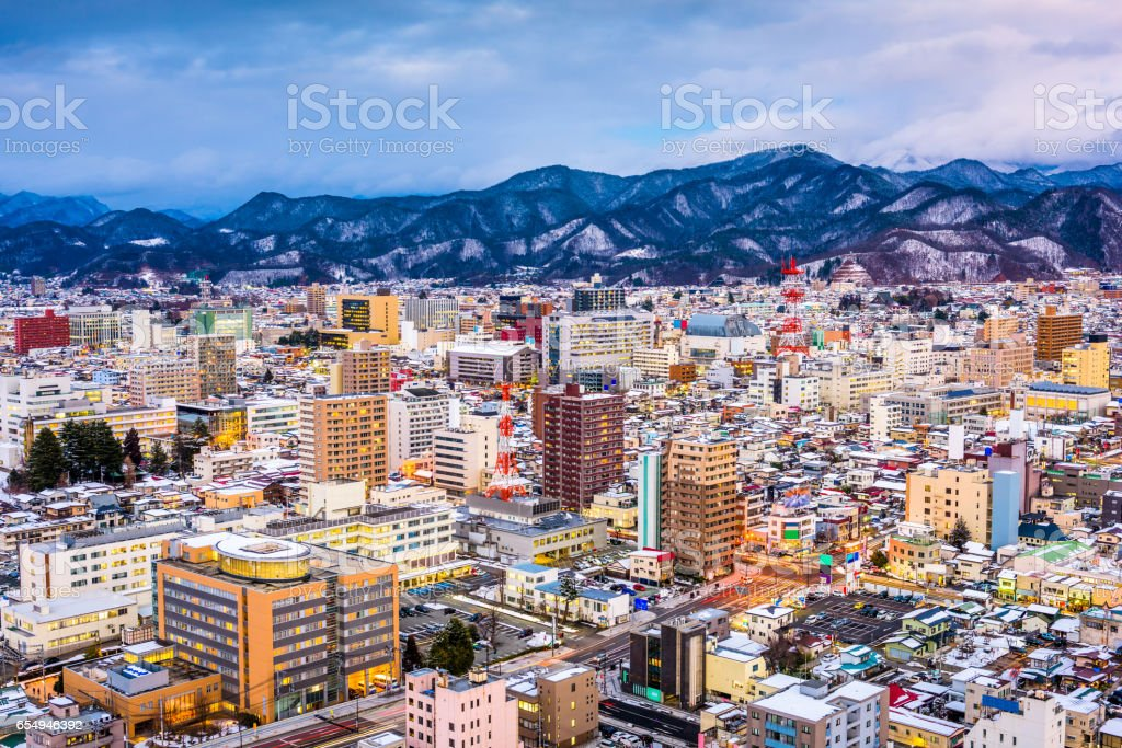Yamagata, Japan Skyline stock photo