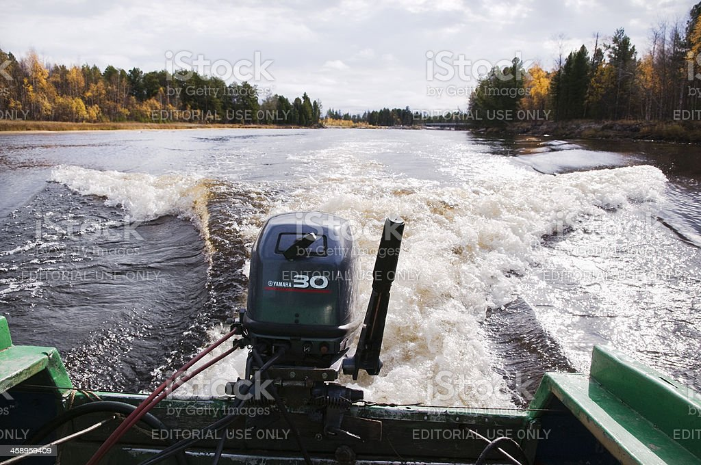 Yamaha 30 on the river Vat - Egan.  royalty-free stock photo