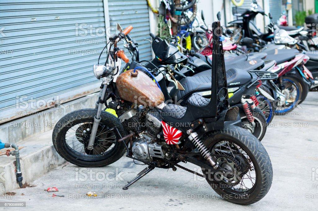 Yamaha oldtimer motorcycle and chopper stock photo