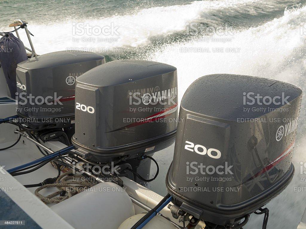 Yamaha Outboard Motors, Phuket, Thailand stock photo