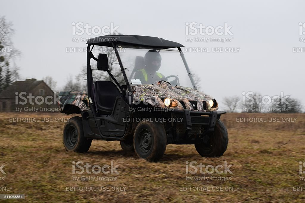 Yamaha Rhino 660 driving on the unmade road stock photo