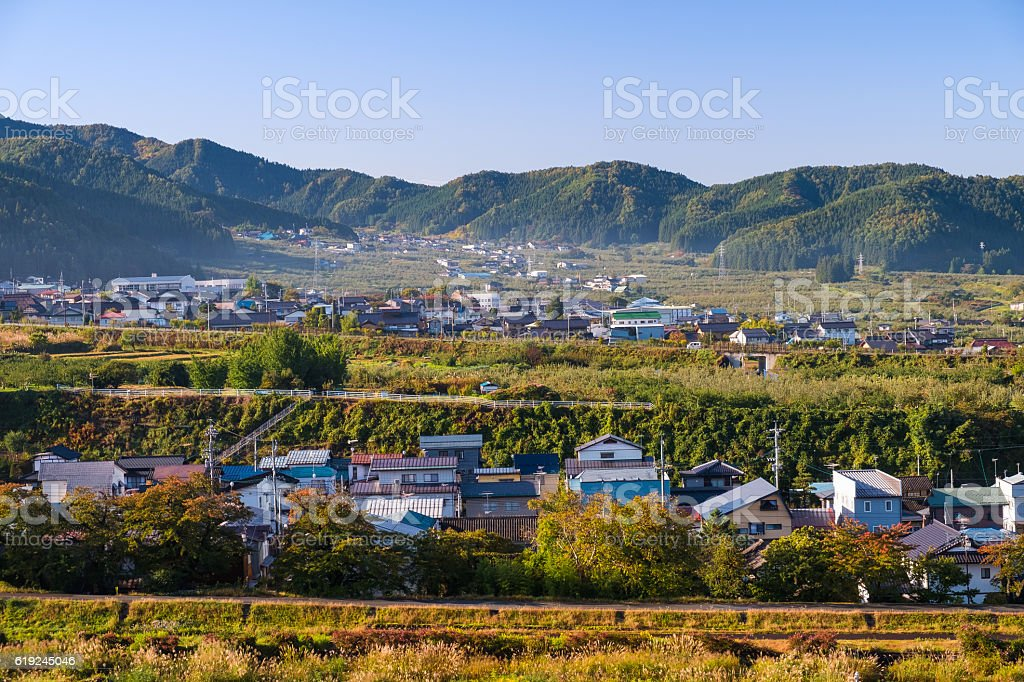 Yamanouchi village view in morning stock photo