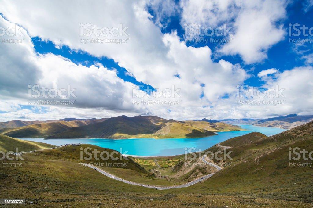 Yamdrok Lake in Tibet, China stock photo