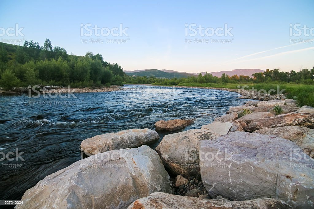 Yampa River in Steamboat Springs Colorado stock photo