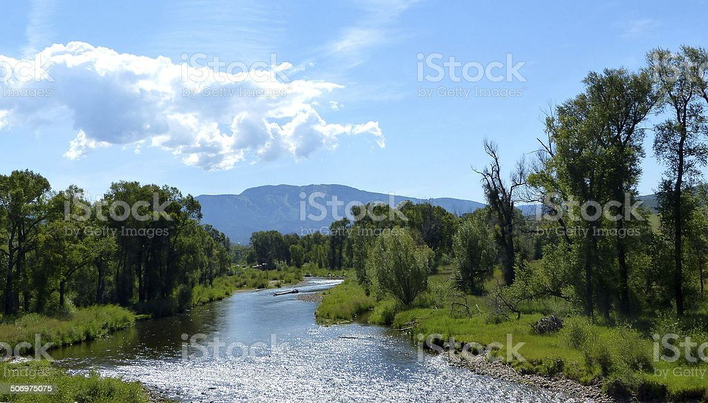 Yampa River in Steamboat Springs stock photo