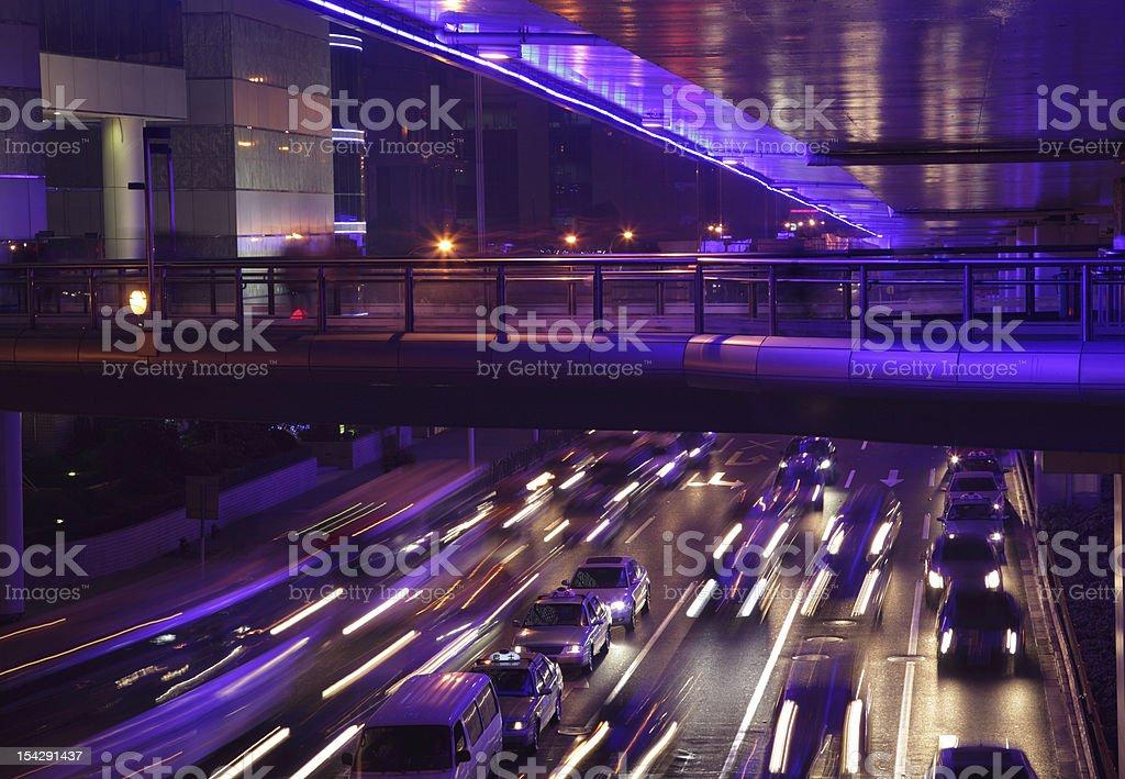 Yan'an Road at night, Shanghai royalty-free stock photo