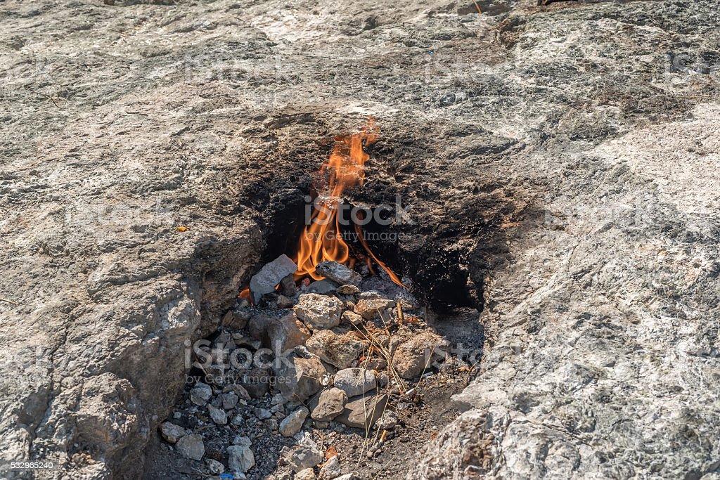 Yanartas, flaming stone, geographical feature in Antalya Province, southwestern Turkey stock photo