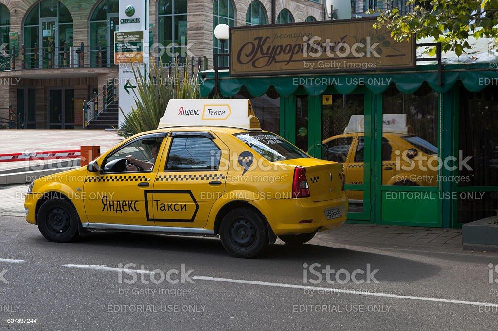 Yandex taxi near the restaurant 'Resort' in Sochi stock photo
