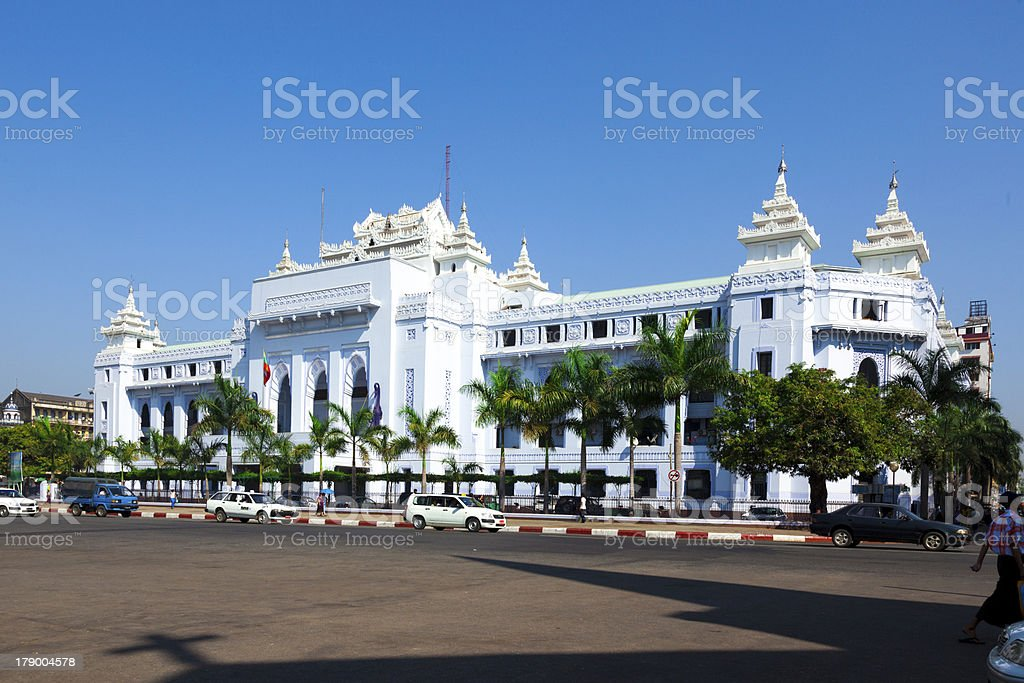 Yangon city hall and courtyard stock photo