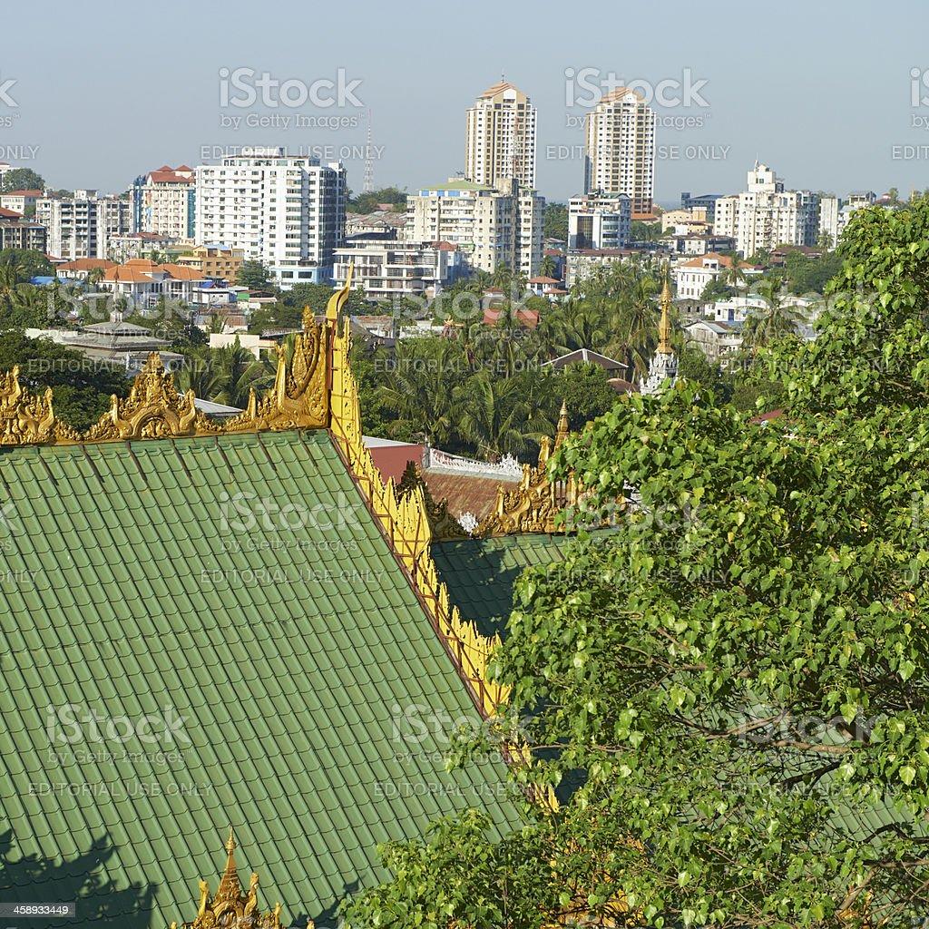 Yangon Cityscape royalty-free stock photo