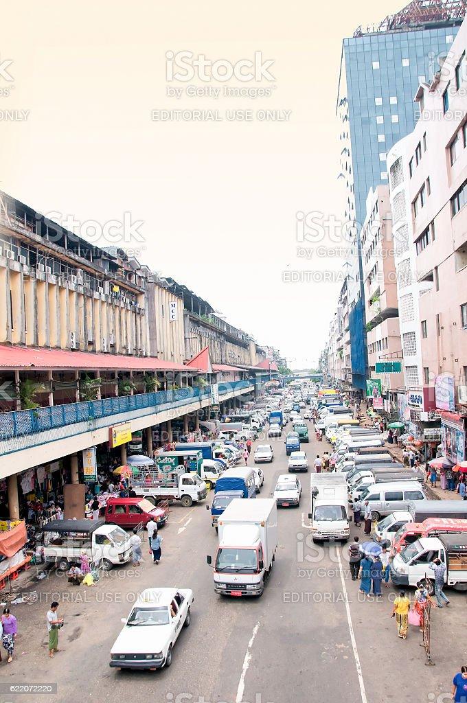 Yangon downtown, Myanmar stock photo