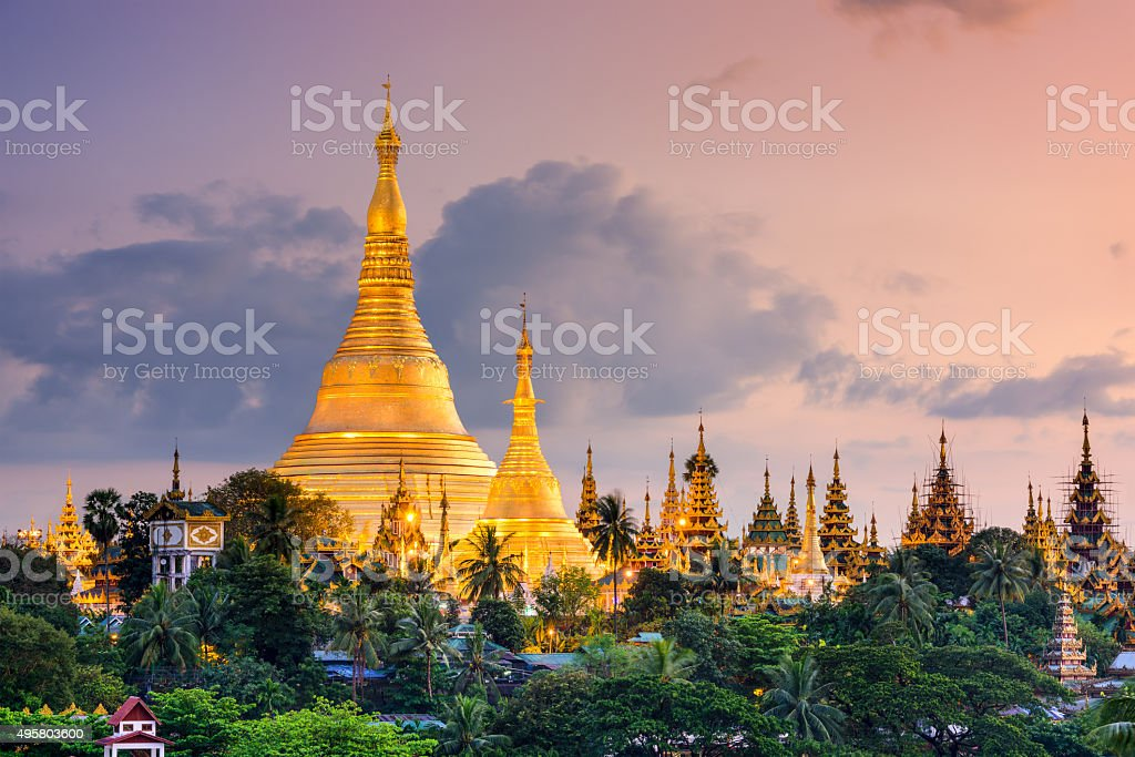 Yangon Myanmar at Shwedagon Pagoda stock photo