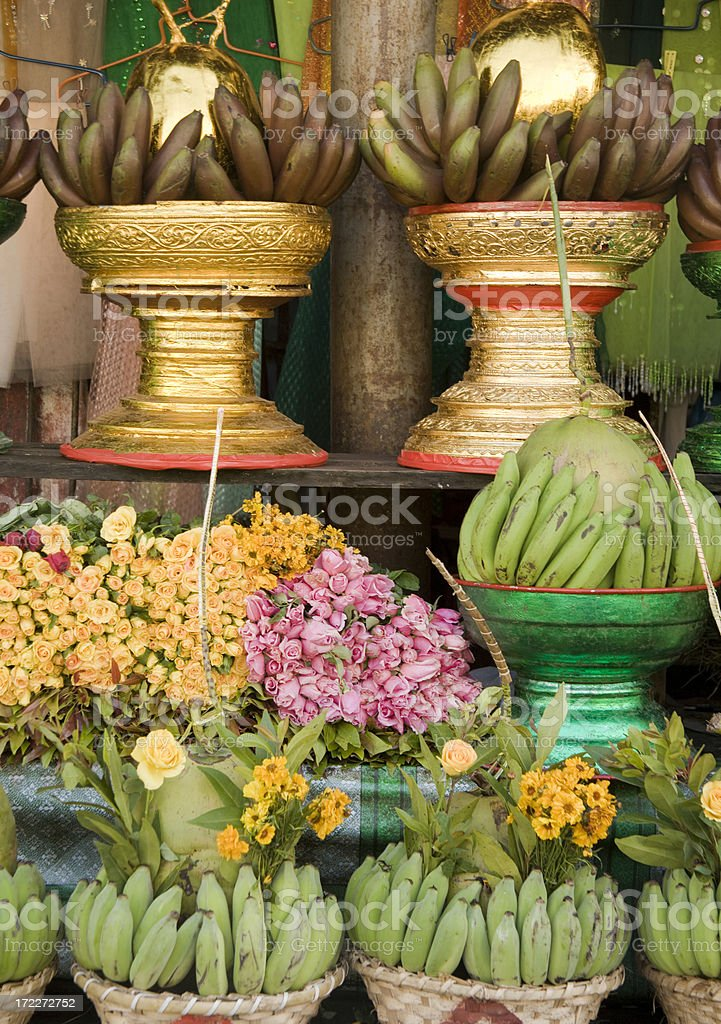 Yangon, Myanmar: Fruits and Flowers at Market royalty-free stock photo