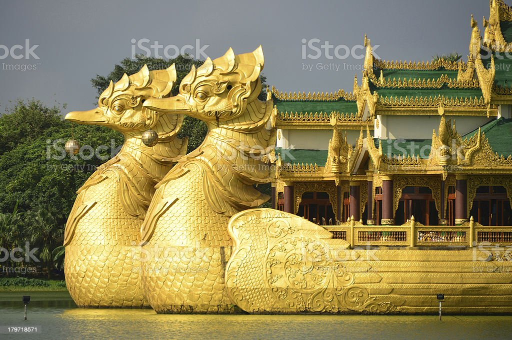 Yangon, Myanmar: Karaweik Royal Barge royalty-free stock photo