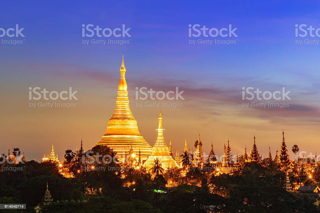 Yangon Myanmar Shwedagon Pagoda at Twilight stock photo