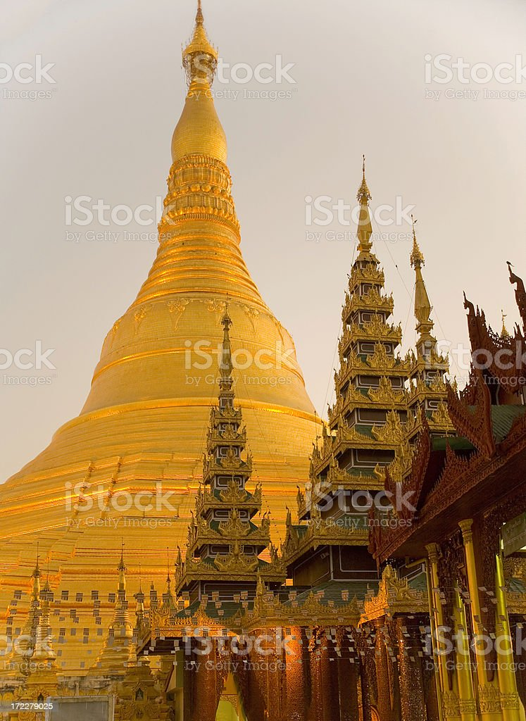 Yangon, Myanmar: Shwedagon Pagoda in Evening Light royalty-free stock photo