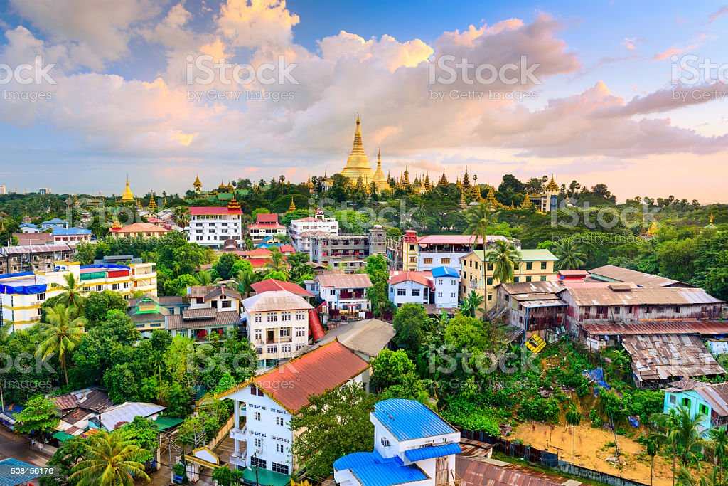 Yangon Myanmar Skyline stock photo