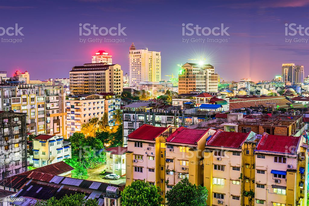 Yangon, Myanmar Skyline stock photo