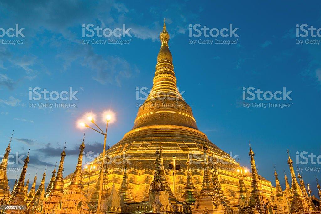 Yangon, Myanmar view of Shwedagon Pagoda at night. stock photo