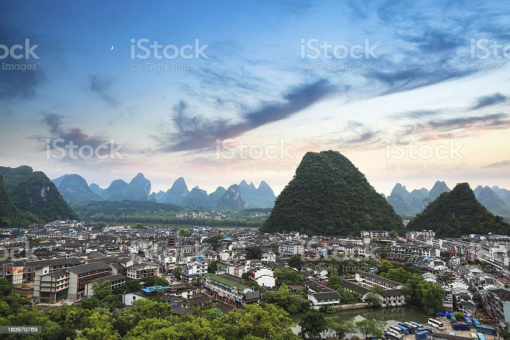 yangshuo county town at sunset royalty-free stock photo