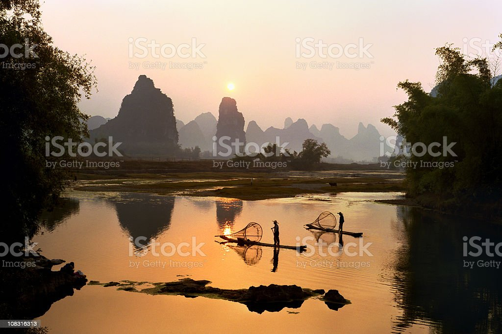 Yangshuo Li River at sunset royalty-free stock photo