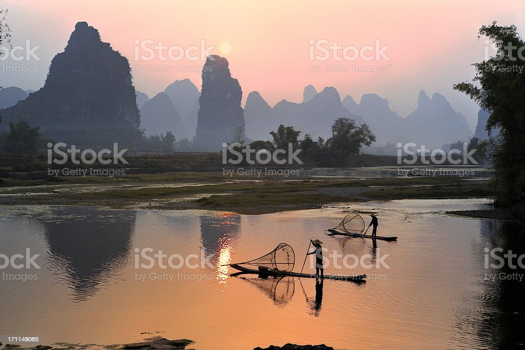 Yangshuo Li River at sunset stock photo