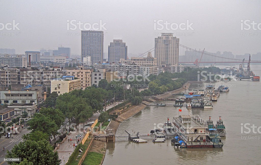 yangtze river and dock in Wuhan stock photo