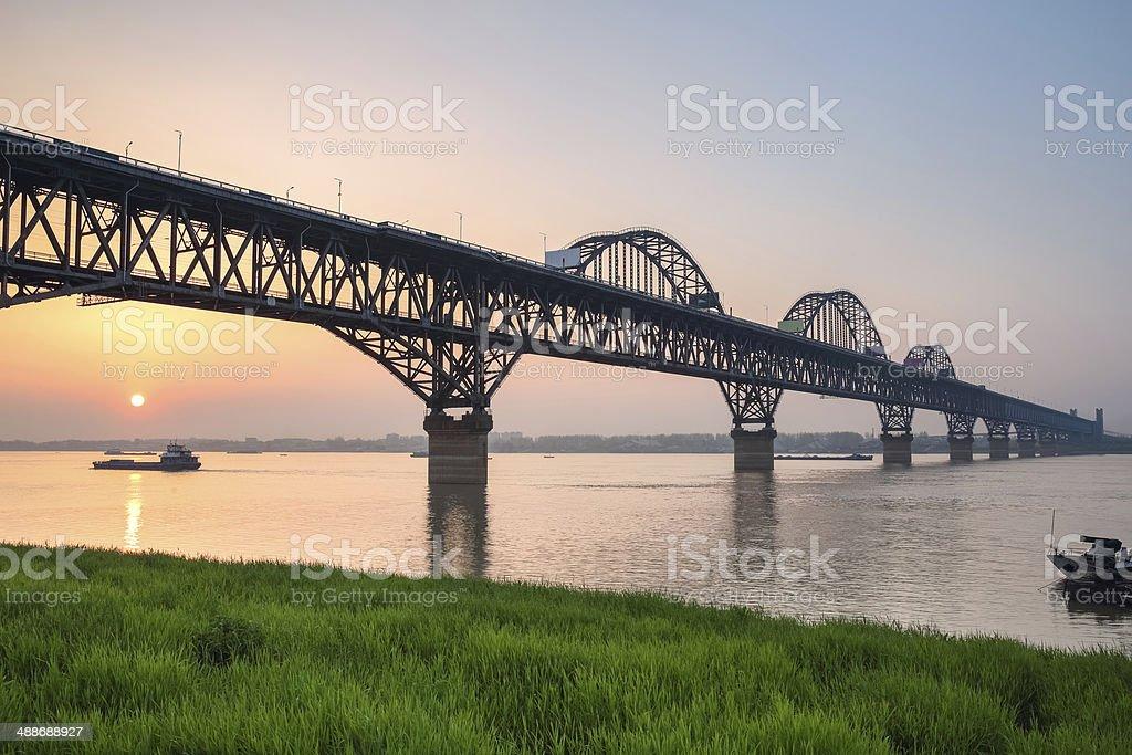 yangtze river bridge in sunset stock photo