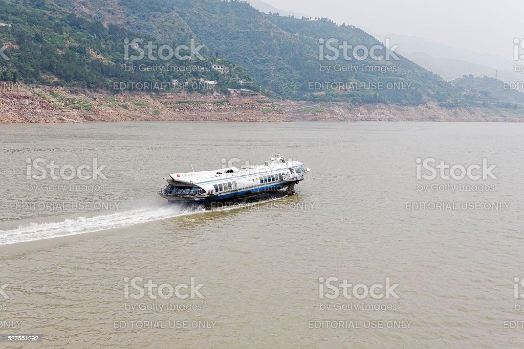 Yangtze River Jetfoil at speed stock photo