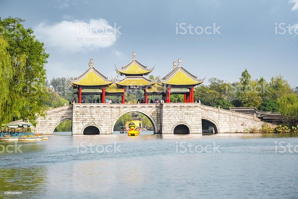 yangzhou five pavilion bridge stock photo