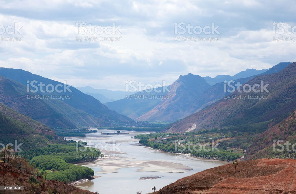 Yangzi river first bend in Yunnan, China royalty-free stock photo