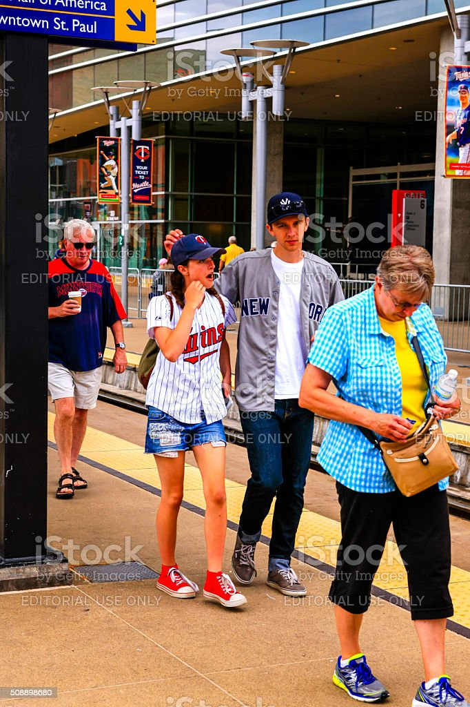 NY Yankees and Minnesota Twins Fans at Target Field Minneapolis stock photo
