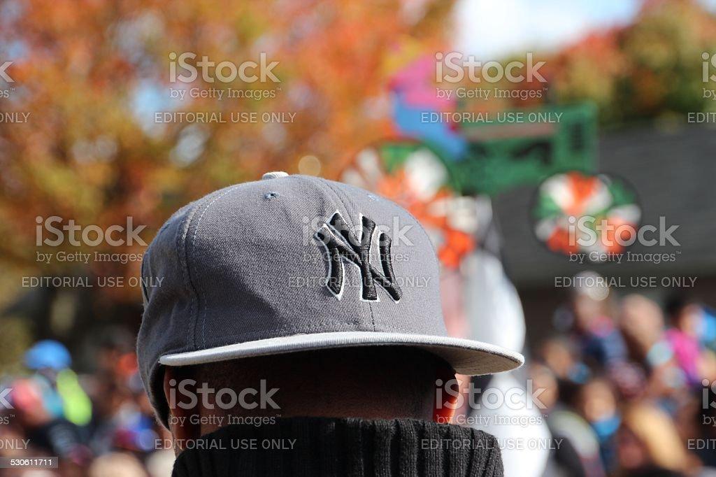 NY Yankees cap on man's head at Fair stock photo