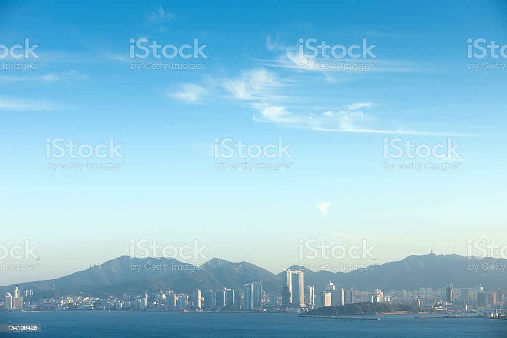 yantai cityscape stock photo