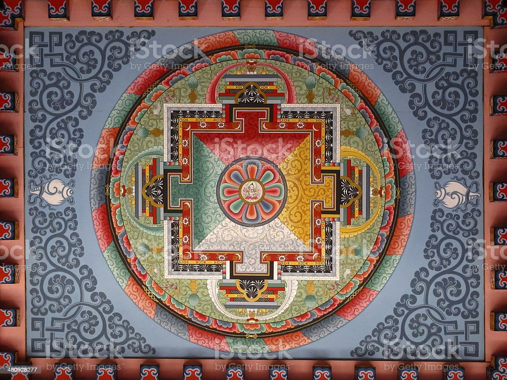 Yantra pattern on the ceiling of the Buddhist temple stock photo