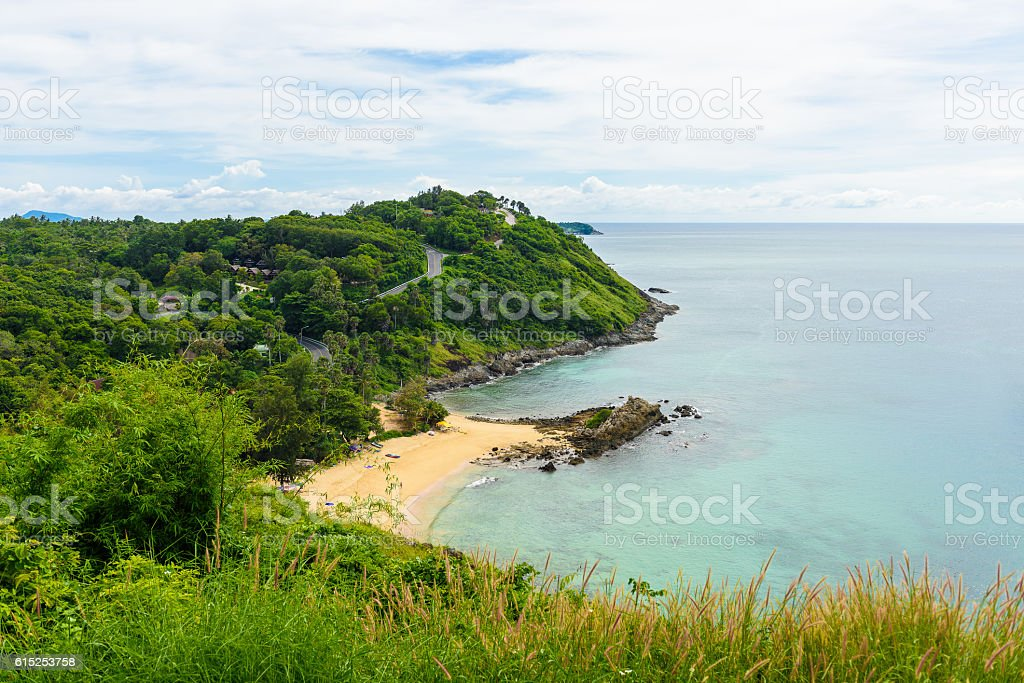 Yanui Beach from sunset viewpoint, Phuket, Thailand stock photo