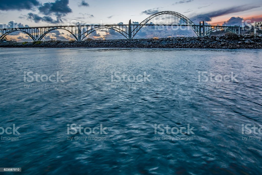 Yaquina Bay Bridge Marina Newport Oregon Sunset  River HDR stock photo